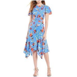 Maggy London Tulip-Print Hanky Hem Midi Dress